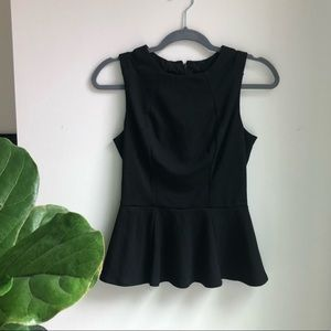 Black Peplum Tank Top with Sheer Detail